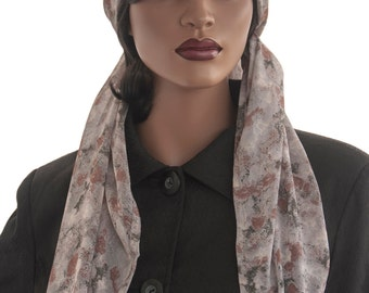 Chiffon Square Scarf Muted Ombre Wrap Head Scarf Tichel Hijab Handmade