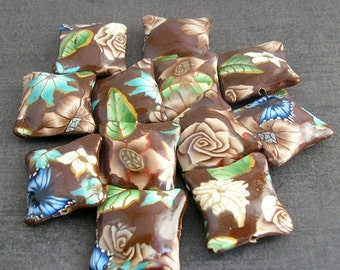 Coffee Brown Beads,  Polymer Clay Pillow Beads, Bead Dozen, 12 Pieces - Made to Order
