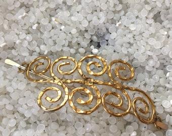 vintage hair barrette ,gold barrette, hair slide with gold stick