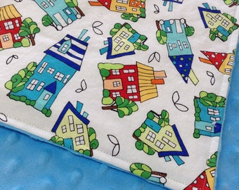 "Baby Blanket! Houses on the Hill, Bright Blue Minky on Back 30""x38"""