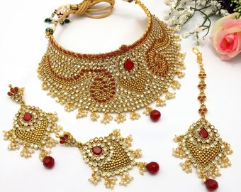 Handmade Polki Mukut Necklace Set with Earrings and Tika Indian Jewellery Gold Plated Indian Jewelry Bridal Bollywood Jewelry