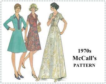 1970s Sewing Patterns - McCall's 3892 Pattern - Misses Half Size Princess Dress, Braid Trim, A-Line Dress - Size 18 1/2 - Bust 41 - UNCUT