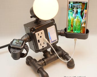 Steampunk Industrial Robot Pipe Lamp with Dimmer, two AC & two USB outlets, Smartphone Charging Cradle, optional Apple Watch charger