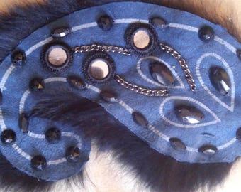 Applique à coudre double face en cuir couleur bleu