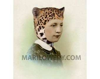 Unusual Retro Mixed Media Portrait Leopard Cat Ears Mixed Media Collage 8.5 x 11 inch Print