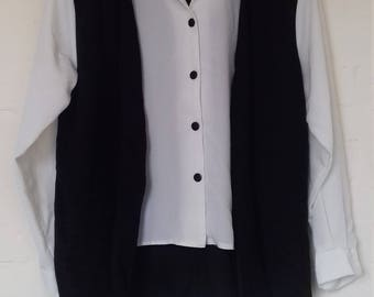 1990's black and white attached blouse and waistcoat - size 16
