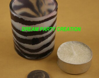 Set of 2 Glass Votive Candle with ANIMAL ZEBRA Print Design 2 inches