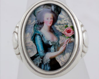 Marie Antoinette Collage Sterling Silver Ring (Sizes 5-10 w/ half sizes)