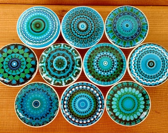 Turquoise Mandala Wood Drawer Knobs Blue Mandala Wood Drawer Knob Pull on Cherry Wood Knob Size 1.5