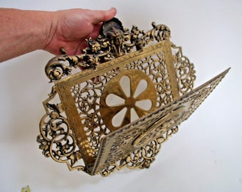 Antique Bradley Hubbard Brass Lady Bust Angels Floral Magazine Mail Wall rack