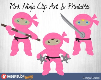 Pink Ninja Clip Art & Printables Set CA038 / Clipart / Ninja Wall Decorations / Ninja Printables / Ninja Party Decor / Birthday Ninjas Girls