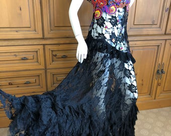 John Galliano Vintage Embroidered Sheer Lace Overlay Dress with Ruffles