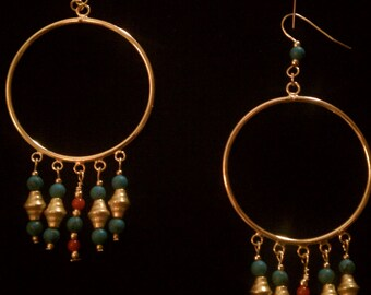 Tribal - Ethnic - Golden Chandelier Earrings - turquoise and coral