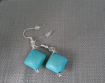 Earrings/Turquoise/Blue/ Ceramic earrings/Earrings daytime to evening/ladies earrings/birthday/party earrings/just for fun