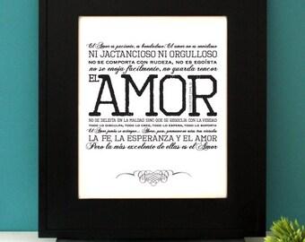 1 Corintios 13 en español, 1 Corinthians 13 in Spanish, Inspirational Quote. Spanish Wedding gift. Unframed.