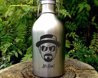Custom Designed Breaking Bad, Heisenberg Inspired Stainless Steel Beer Growler - Walter White