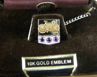 Vintage SCHWINN Bicycle 10K Gold Employee Pin Tie Tack Amethyst Sterling