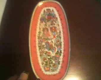 Antique Enameled Bohemian Tray with King Queen and ornate details