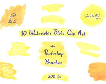 Yellow Orange Hand Painted Watercolor Clip Art Shapes, Blobs, Strokes. Watercolor graphics for hand painted logo