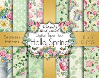 Spring Digital Paper , March Digital Paper Pack, Floral Digital Paper, Green Watercolor Paper, Scrapbook  Paper, Spring Seamless Pattern