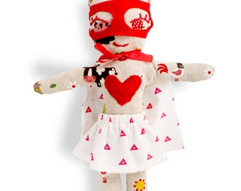 Rag doll-super hero-girls-Miss Babe-Super Doudou for kid in printed cotton