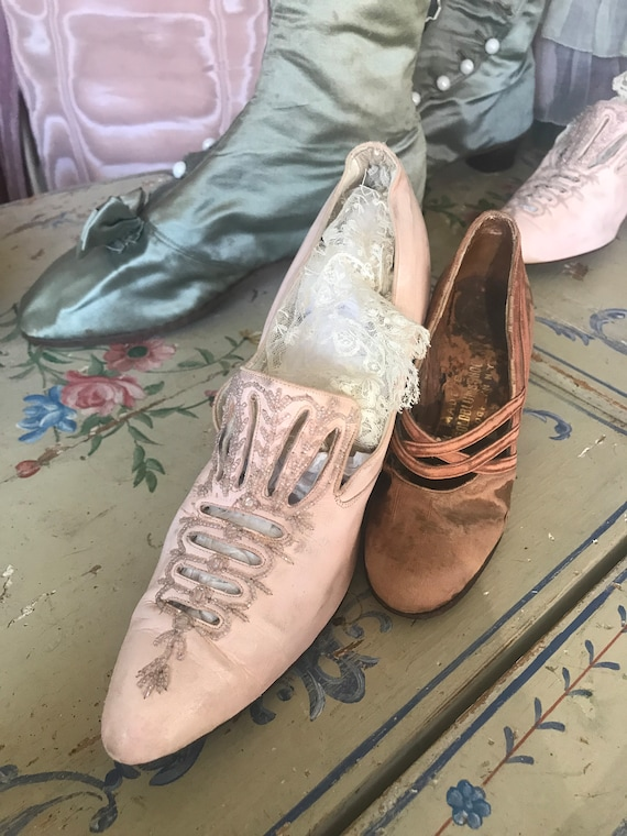 Salesman's shoes Pink Leach silk RARE Miniature Antique Sample 1gw0gEZq
