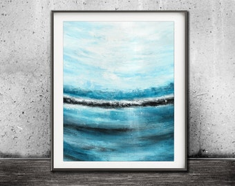 Instant download printable art print blue white modern painting waves oceans wall decor abstract art modern artwork home decor
