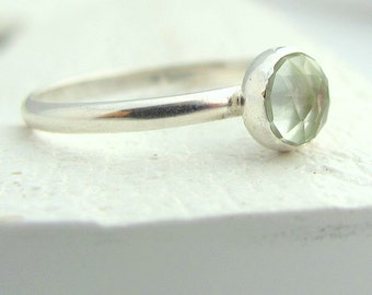 Handmade sterling silver and faceted prasiolite solitaire ring -size 9
