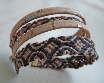 Cuff Bracelet Brazilian beige and black, woven and natural cork with silver inclusions