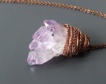 Raw amethyst crystal necklace, february birthstone women jewelry, healing gemstone minimal pendant gift for her