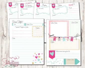 HAPPY PLANNER PRINTABLE Bible Study Planner Pages / Sermon Planner Pages / Inserts - 7 x 9.25 | Prayer Journal / Disc System