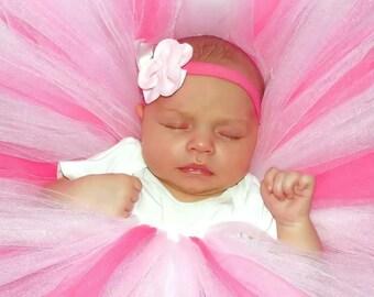 infant/toddler pink, hot pink, white tutu, elastic waist