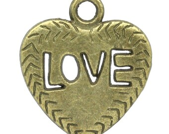 "Heart charm pendant ""LOVE"" Bronze 21x18.5mm"