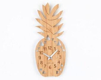 Bamboo Wood Kids Wall Clock -  Pineapple Fruit