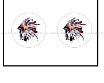 "2 cabochons glass, ""An Indian headdress"""