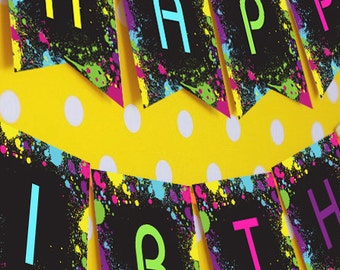 Neon Glow Party Happy Birthday Banner -  Instantly Downloadable and Editable File - Personalize and Print at home with Adobe Reader