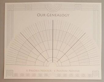 Classical Latin Genealogy Fan Chart Seven Generations Family Tree