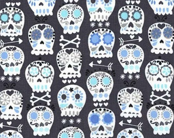Bonehead Skulls Fabric - Charcoal - Sold by the 1/2 Yard