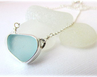 Sea glass necklace. Sterling silver necklace. Bezel sea glass. Maine jewelry. Sea glass pendant. Sea glass jewelry. Beach glass necklace