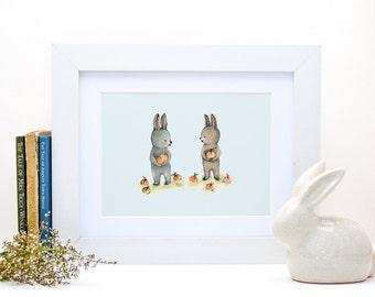 Two rabbits, Woodland nursery decor, Nursery decor wall art, Woodland nursery wall art, Woodland animal nursery, girl nursery decor