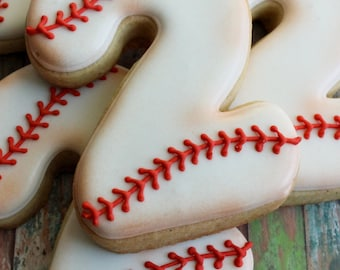 One dozen (12) VINTAGE Style BASEBALL NUMBER Sugar Cookies