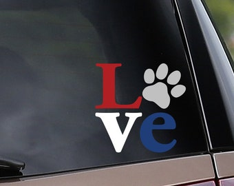 Love Paw Print - Red White and Blue - Vinyl Car Decal - Window Decal - Laptop Decal - Dog & Cat Owners - Pets - USA -  Vinyl Sticker