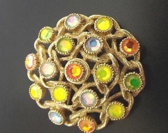Vintage Brooch Orange Green Rhinestone Designer Signed Sarah Coventry Costume Jewelry Accessories