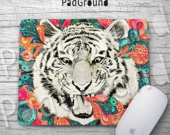 Tiger Mouse Pad, Floral Mouse Pad, Flowers Home Decor, Computer Accessories, Gifts, Natural Soft Fabric rubber backing Mouse Pad - TG02