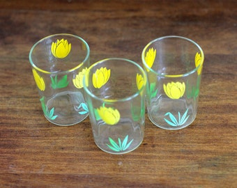 Yellow Tulip Vintage Juice Glasses, Set of 3