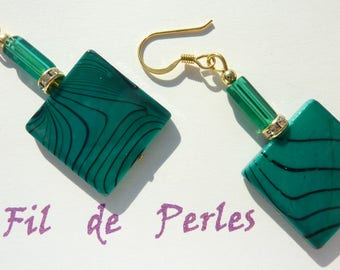 """""""mother of Pearl turquoise"""" gold earrings"""