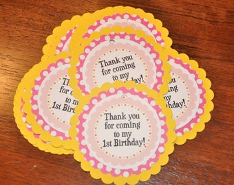 Favor Tags. Bright Pinks and yellow. Polka Dots. Birthday. Set of 12