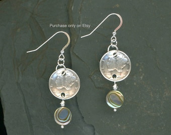 1938 Dime Earrings 80th Birthday Earrings Coin Jewelry Paua Shell Beads 1938 Dimes