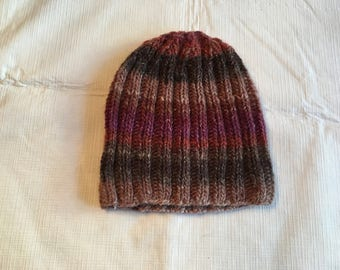 Hand knit beanie adult hat/beanie adult hat/multi color striped beanie adult hat