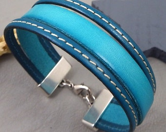 Leather turquoise and ultramarine blue Cuff Bracelet silver plated clasp